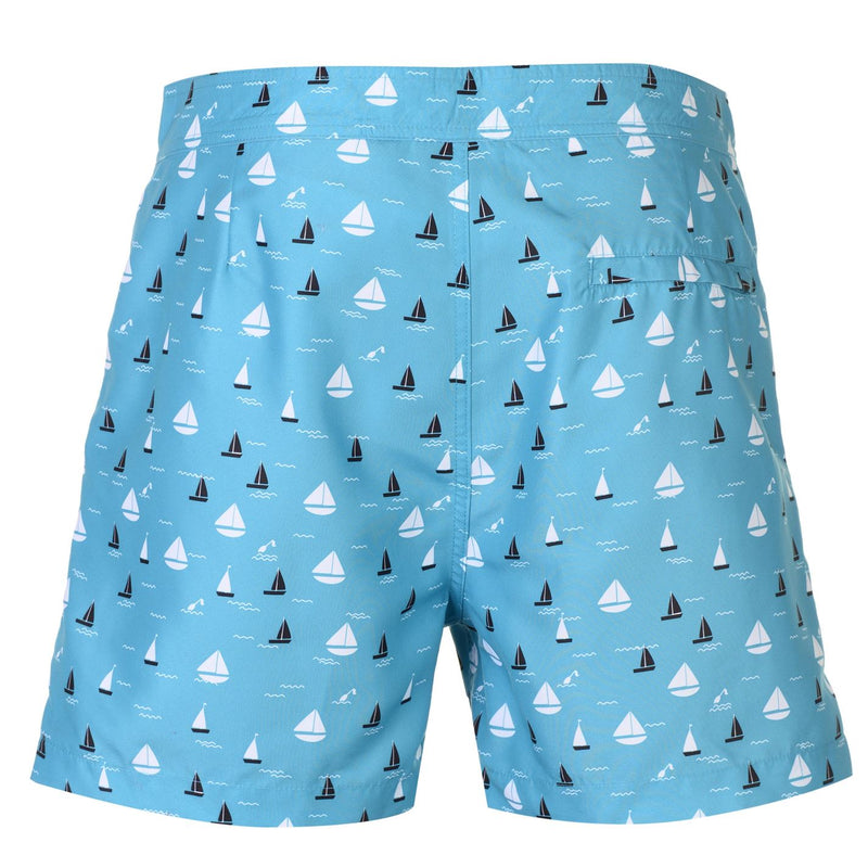 Teal Boat Print Swim Shorts