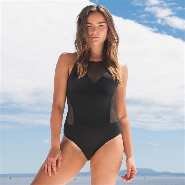 Mesh V Neck Swimsuit (Non-Padded)