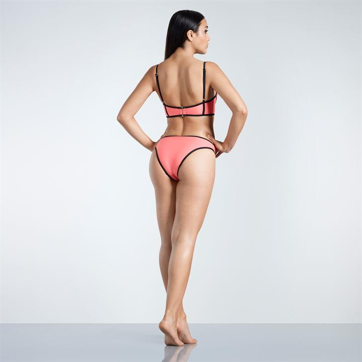 Goldigga Coral Long Line Bikini Set