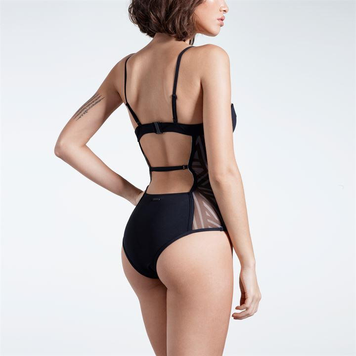 Firetrap Blackseal Panel Swimsuit