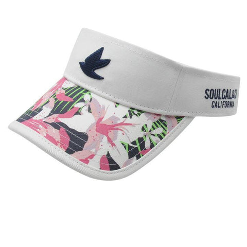 White Tropical Ladies Visor Cap