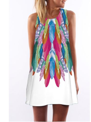Feather Print Sun Dress L Only)