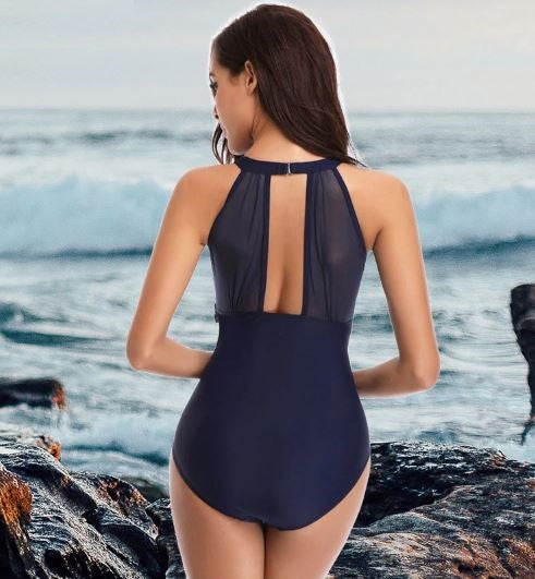 Mesh High Neck Swimsuit (Navy)