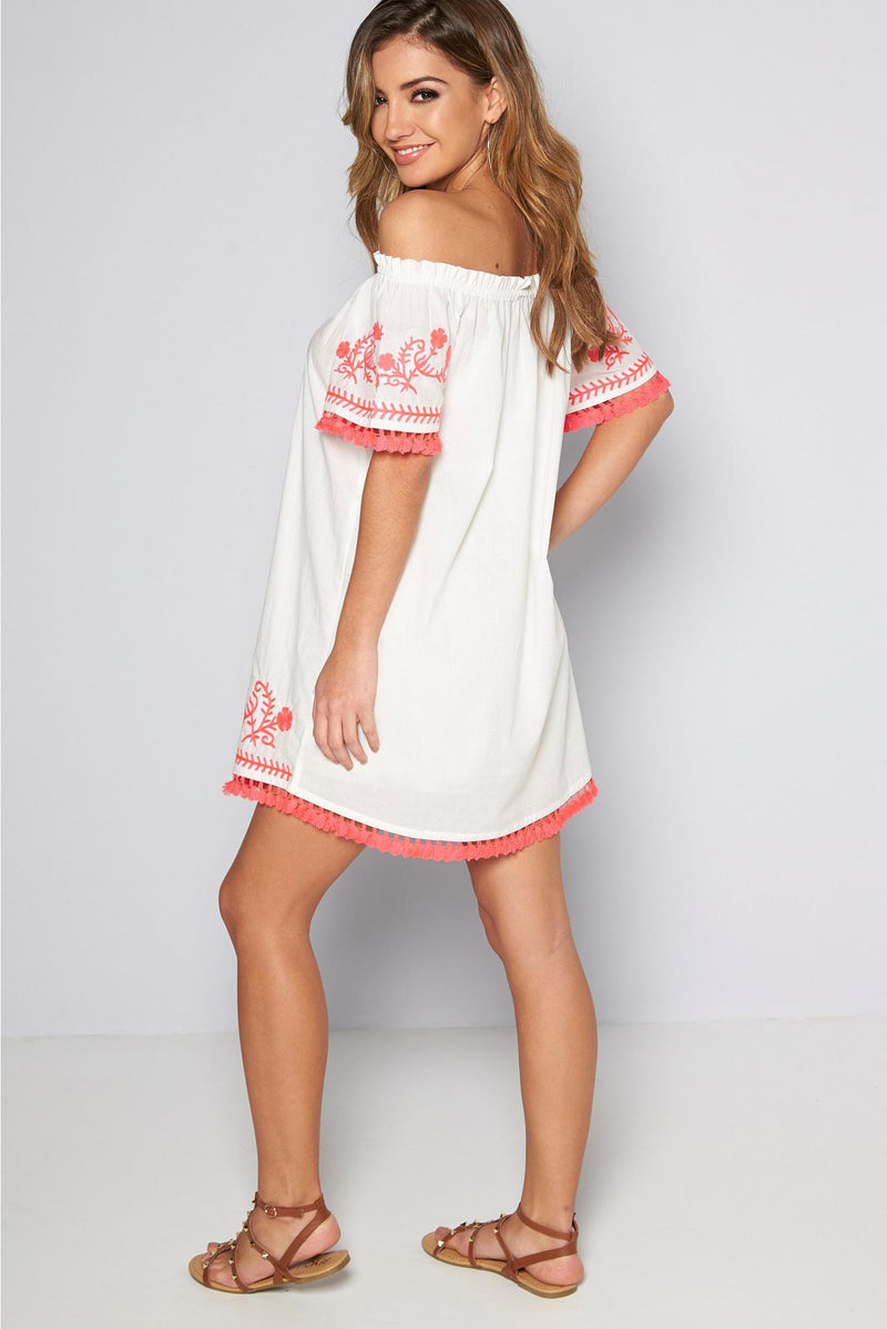 Bardot Tassel Frill Beach Dress