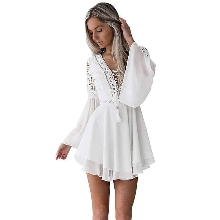 Plunge V-Neck Crochet Lace Dress