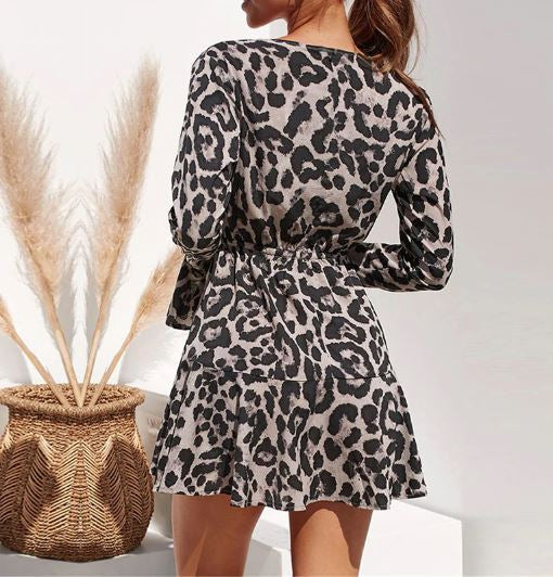 Leopard Print Plunge Neck Ruffle Dress