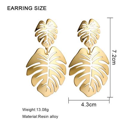 Metallic Coco Leaf Earrings