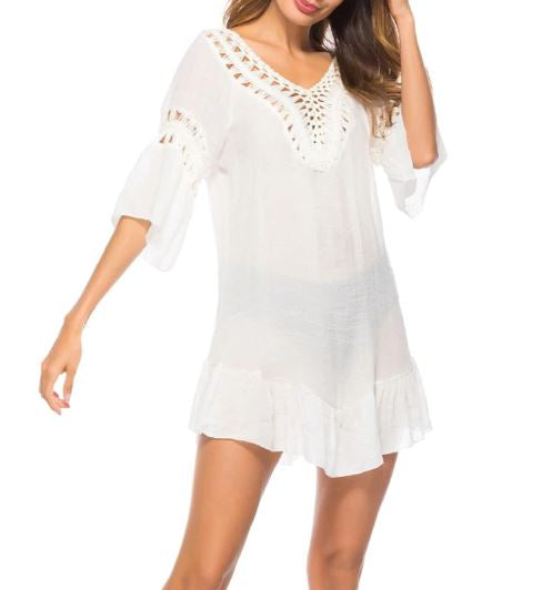 Crochet Scoop Back Feather Drop Cover up