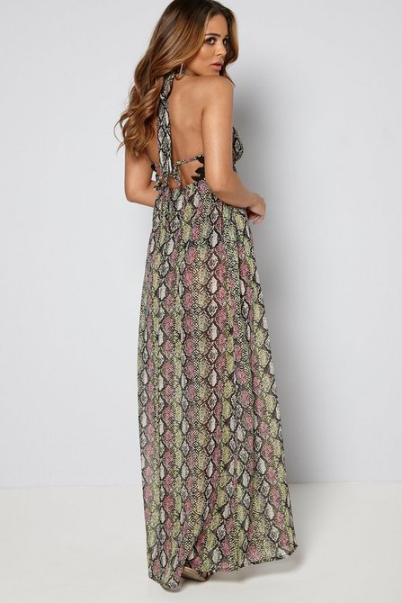 Snake Print Lace Crochet Maxi Dress