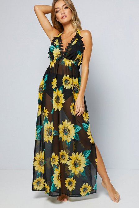 Sunflower Print Lace Crochet Maxi Dress