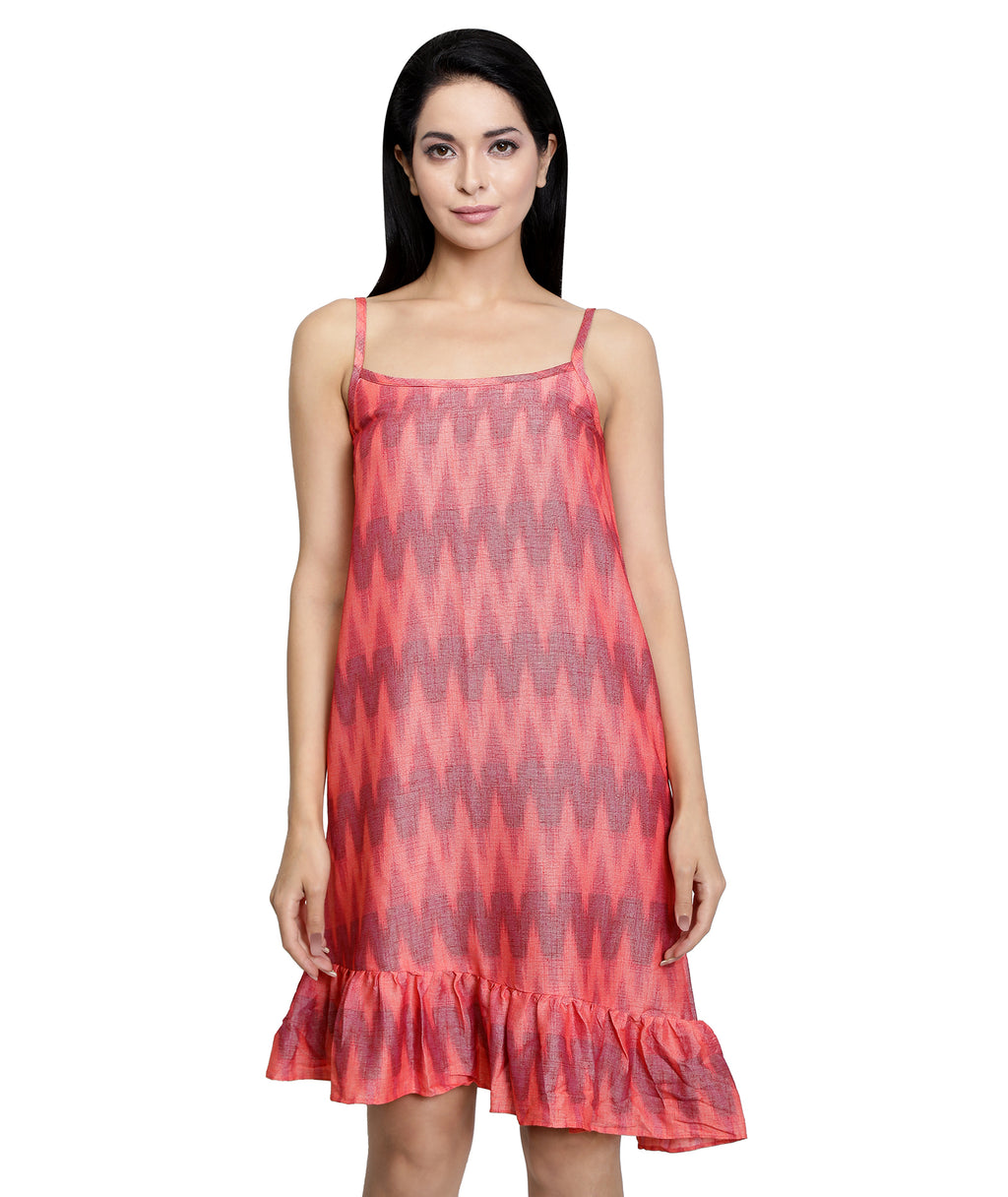 Coral Ikat Beach Dress