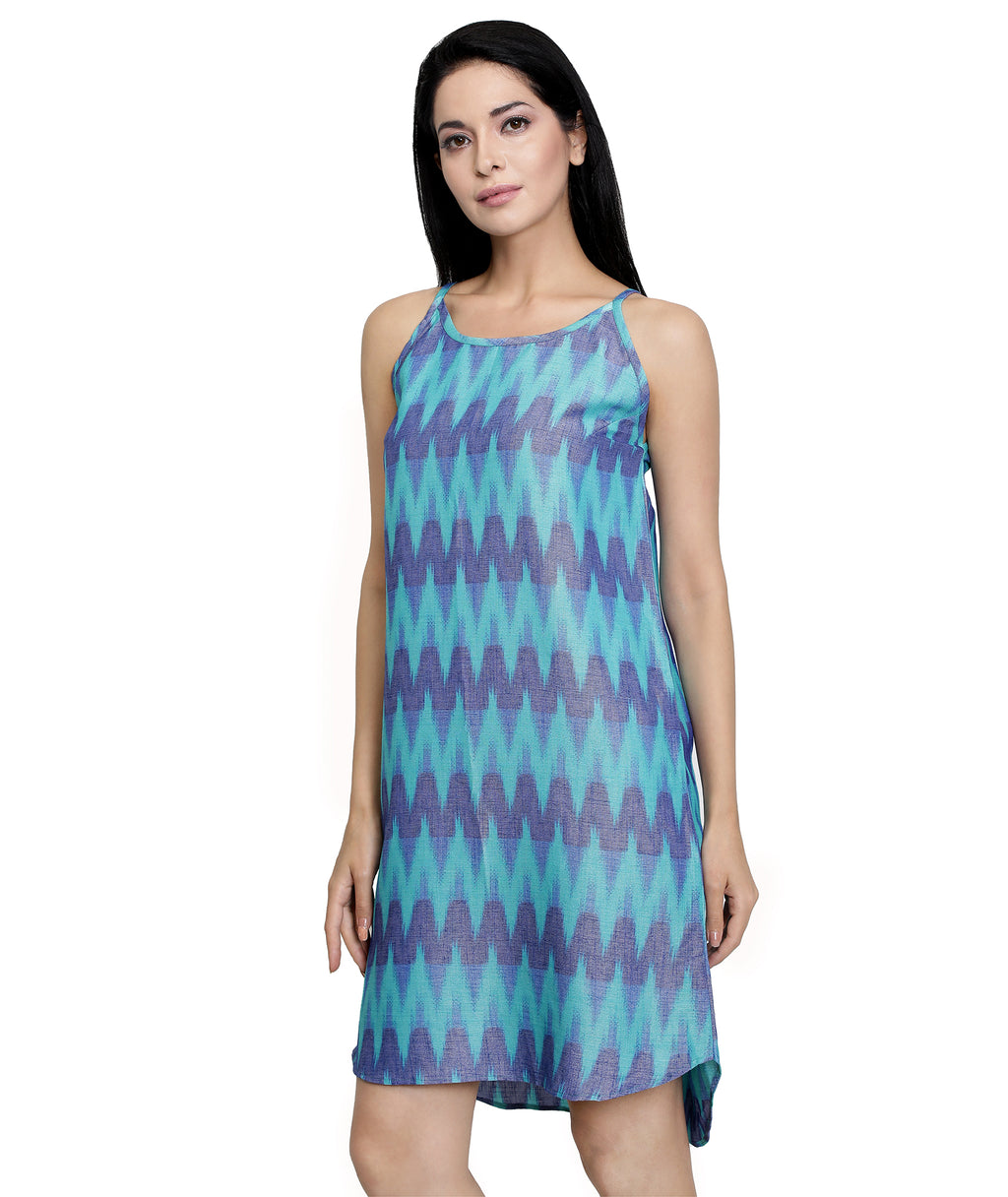 Aqua Ikat Beach Dress