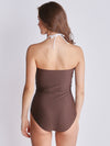 Tan Frill Halter Neck Swimsuit