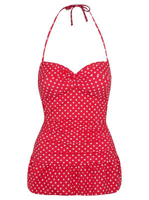 Pink Polka Bandeau Swimsuit (Size UK 14 Only)