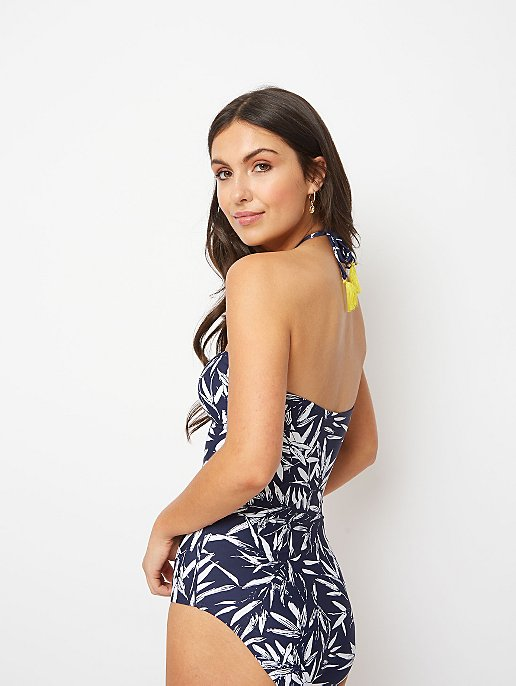 Navy Palm Print Bandeau Contrast Lined Swimsuit