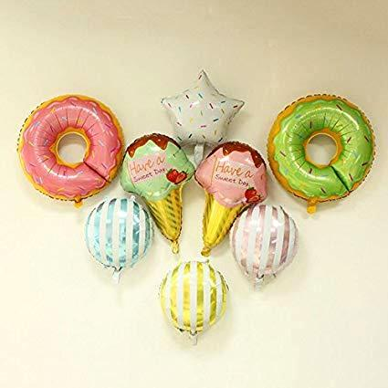 Giant Donut Candy Foil Balloons (Pack Of 8)