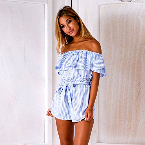 Striped Ruffle Off Shoulder Romper (Only S)