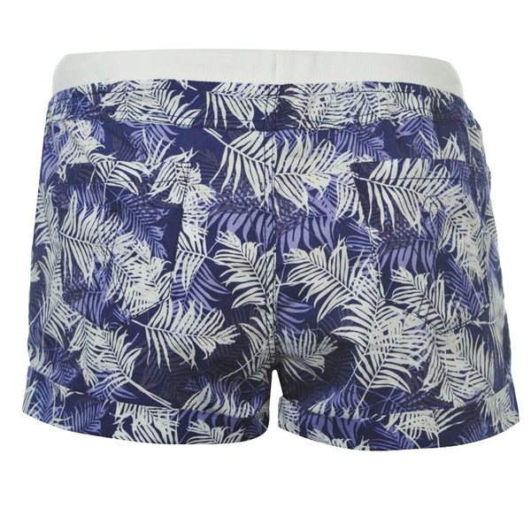 Purple Palm Print Shorts