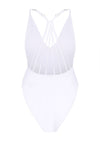 White V-Neck Cross Strap Swimsuit (Non-Padded)