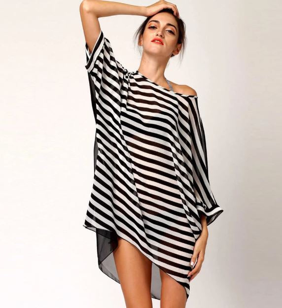 Sheer Oversized Batwing Striped Beach Cover Up