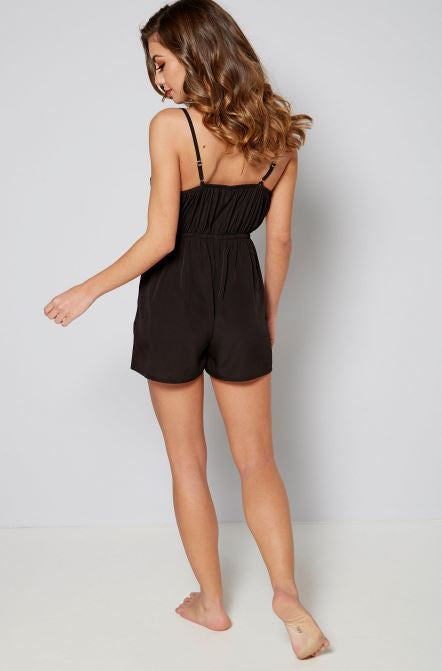 Black Strappy Playsuit (4XL-5XL only)