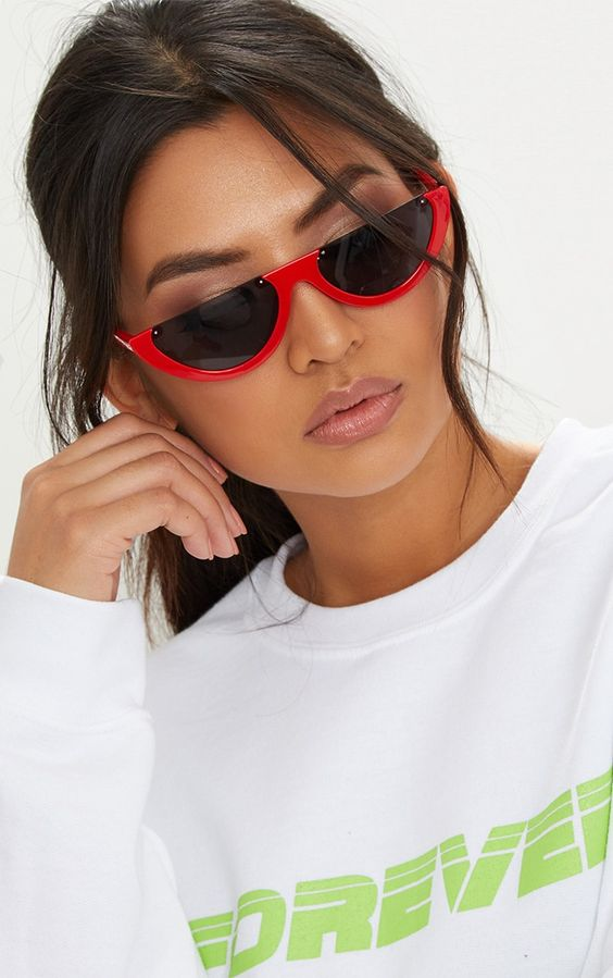 Red Half Moon Sunglasses