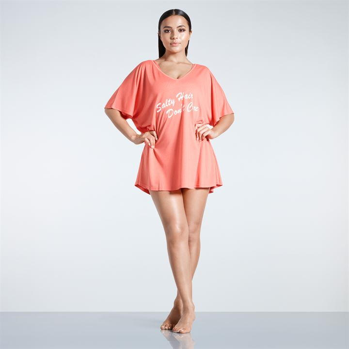Oversize Slogan Beach Cover Up