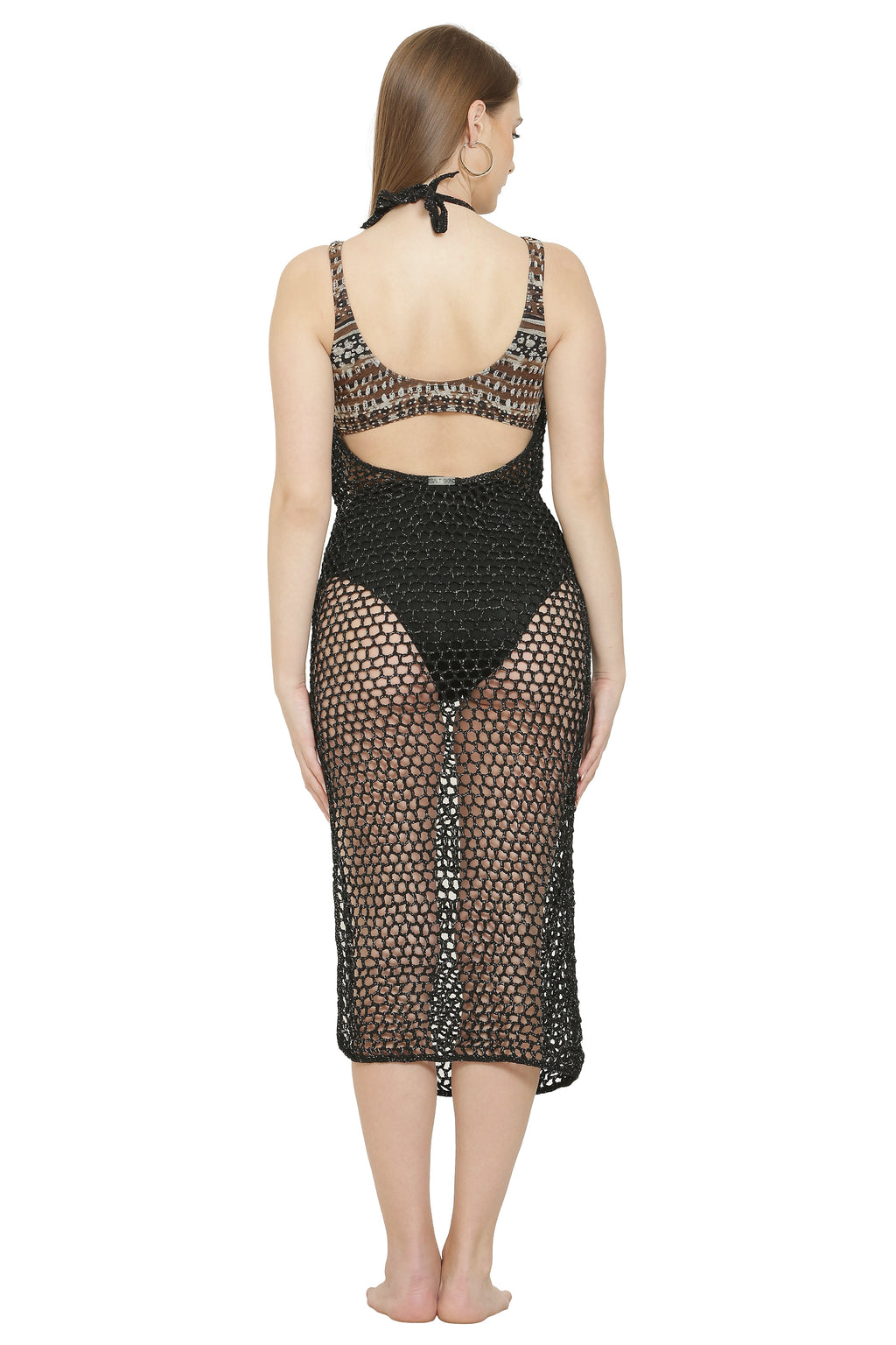 Ubud Crochet Shimmer Cover-Up Dress