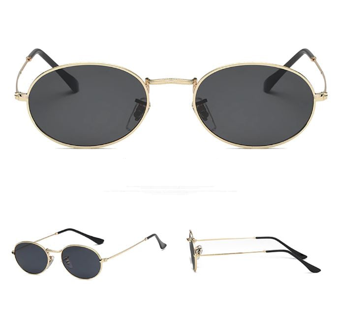 Gold Vintage Oval Sunglasses