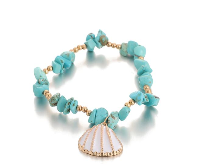 Sea Scallop Shell Beaded Bracelet (2 Options)