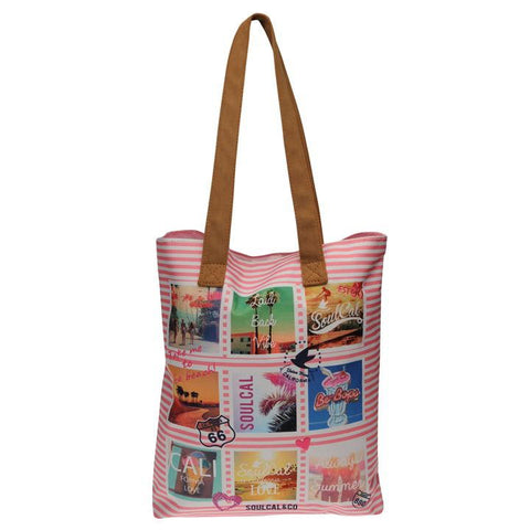 Metallic Flamingo Print Beach Bag