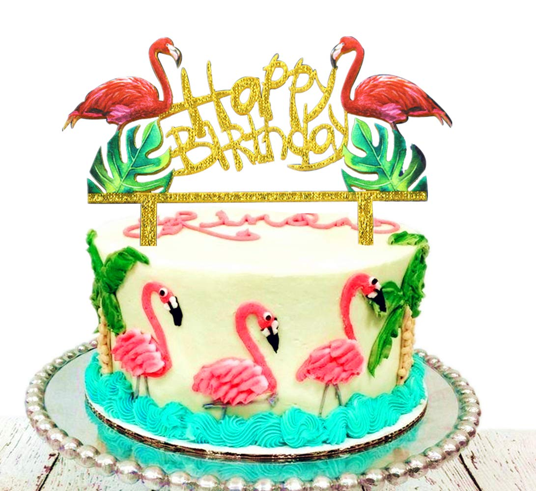 Groovy Tropical Flamingo Happy Birthday Acrylic Cake Decor Topper Pool Personalised Birthday Cards Veneteletsinfo