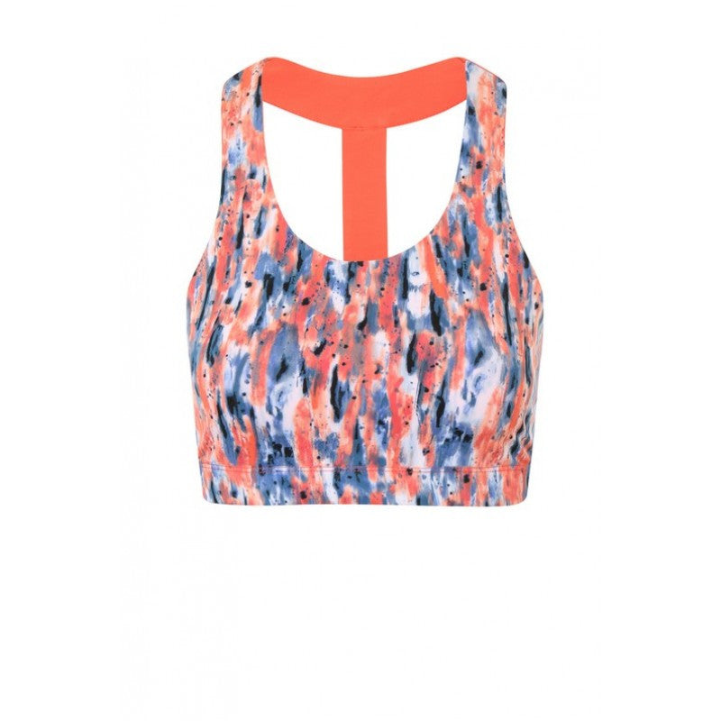 Vikki Coral Splash Print Crop with T-Back