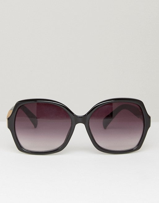 Oversized Square Sunglasses with Metal Arm Detail