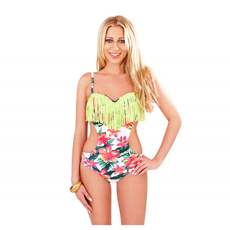 Tropical Flower Underwired Cutaway Swimsuit