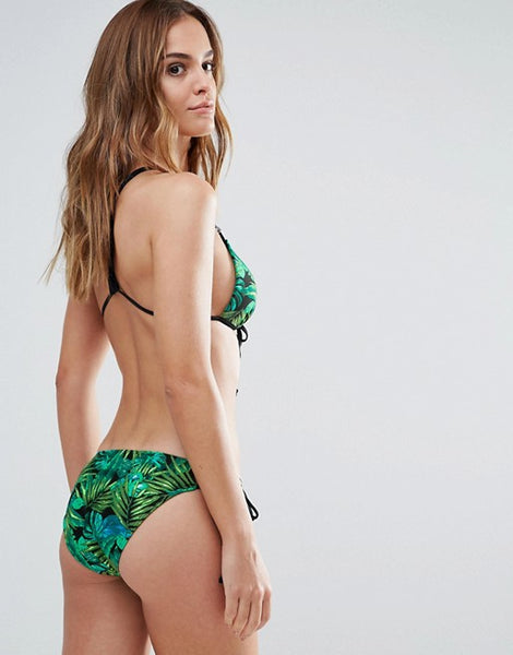 Green Palm Tree Print Triangle Bikini Set