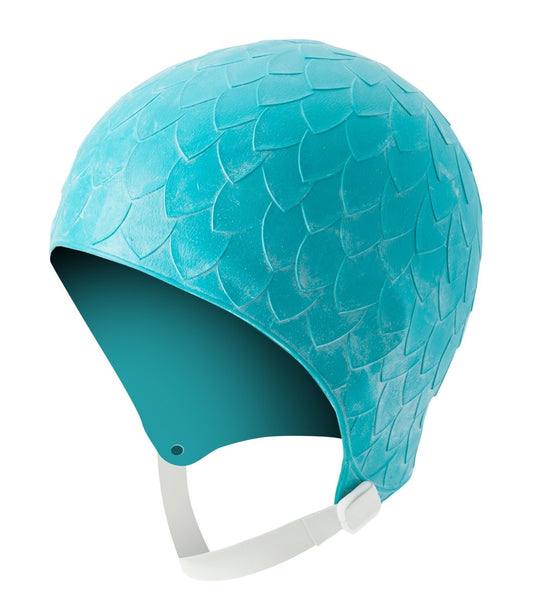 Molded Petal Cap with Chin Strap - Teal