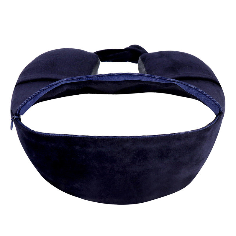 Super Soft Memory Foam Travel Neck Pillow with Pockets - Navy Grey