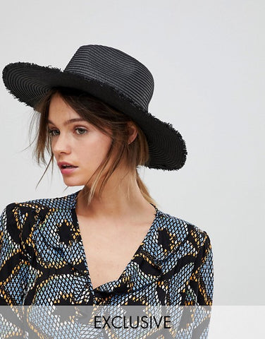 Frayed Edge Wide Brim Hat