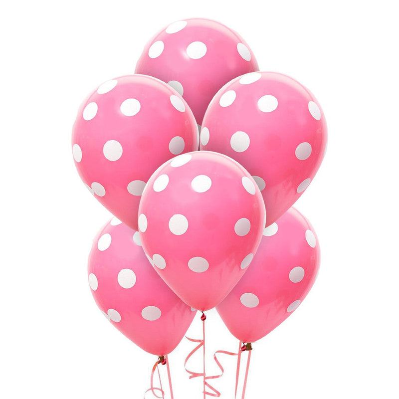 Pink Polka Latex Balloons (Pack of 6)