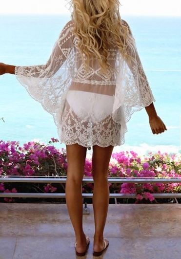 White Lace Dolman Sleeve Cover-Up