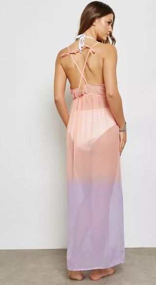 Ombre Plunge Neck Beach Maxi Dress