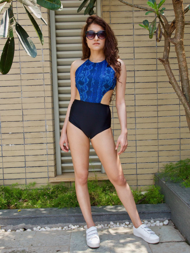 Blue Scale Side Cut-Out Maillot
