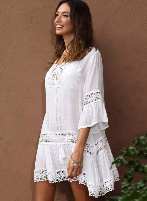 Bamboo Cotton Trim Kaftan