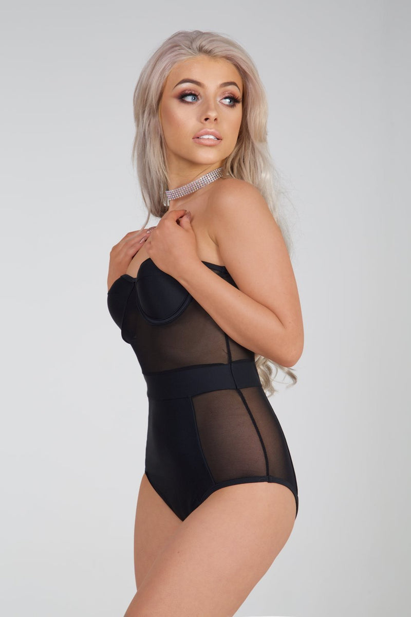 Black Balconette Mesh Panel Swimsuit