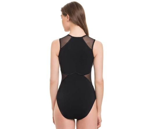 Zipper Mesh Cut Out Swimsuit