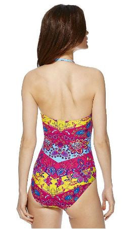 Floral Tile Print Cut-Out Bandeau Swimsuit (S & M)