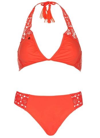 Coral Crochet Flower Bikini Set