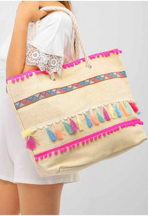 Multicolored Tassel Woven Bag