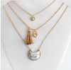 Aqua Layered Tassel Necklace Set